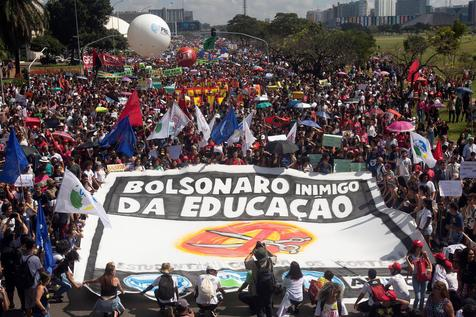 Protest against education cuts announced by Bolsonaro